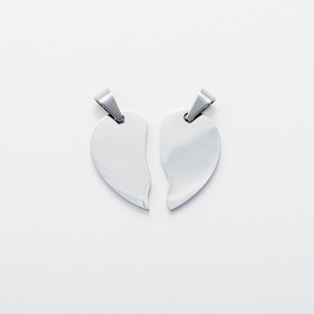 Edelstahl-Anhänger personalisiert mit Ihrem Wunschtext - geteiltes Herz L, stahl