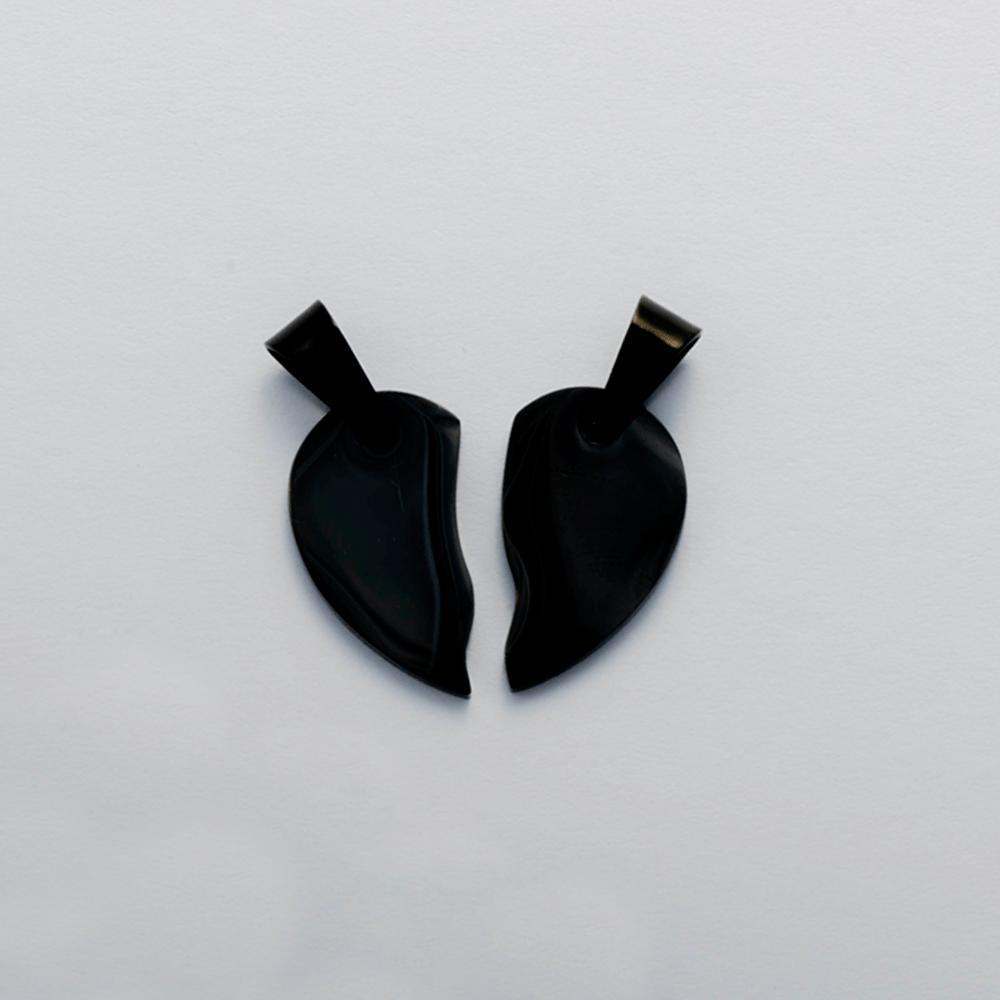 Anhänger Herz geteilt L Schwarz/Schwarz