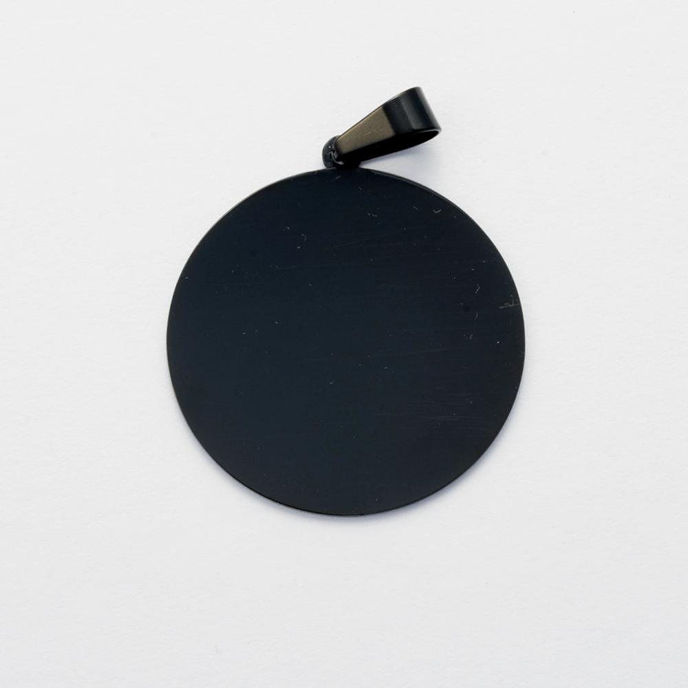 Edelstahl-Anhänger personalisiert mit eigenem Foto oder Text - Rund L, Schwarz