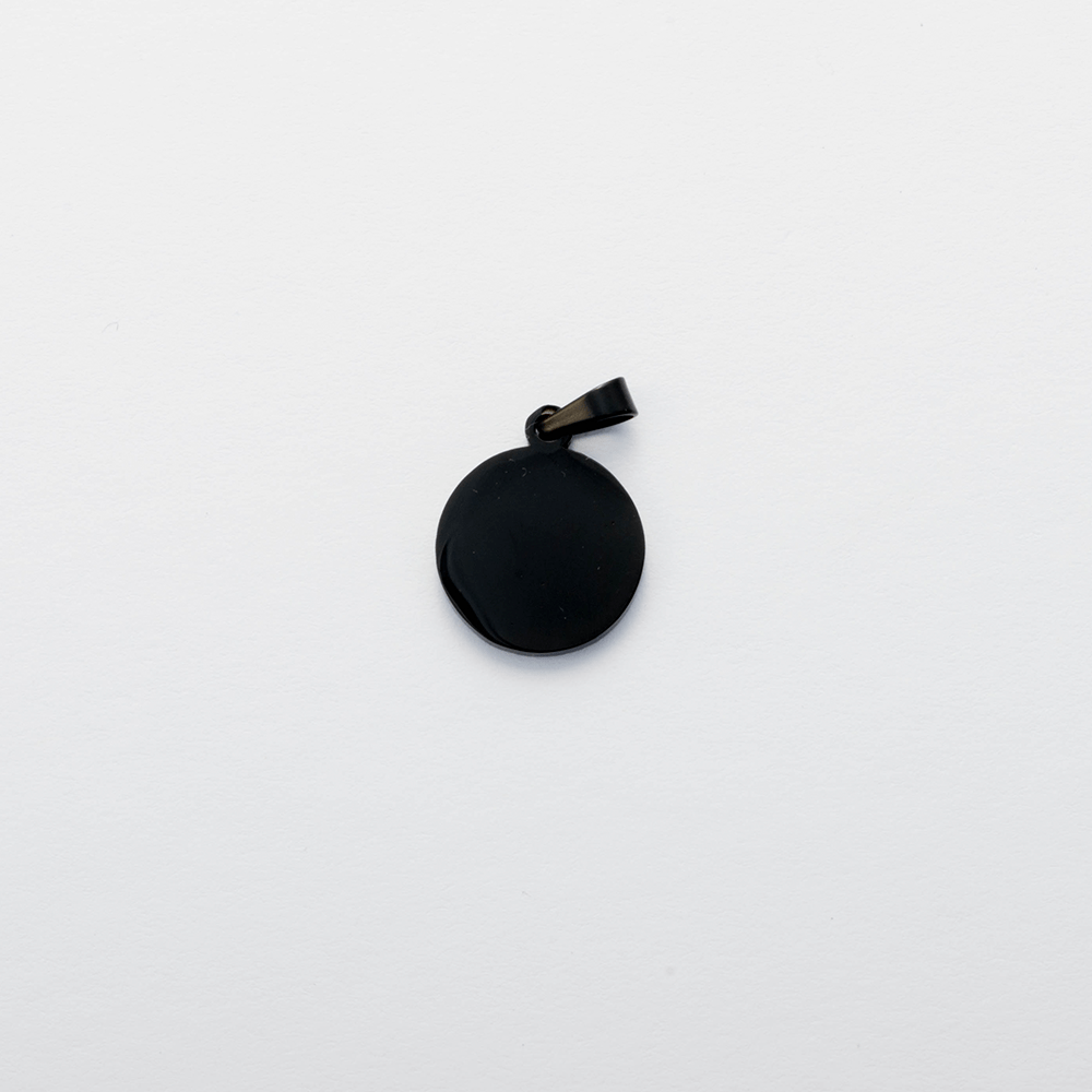 Edelstahl-Anhänger mit individueller Gravur - Rund S, Schwarz