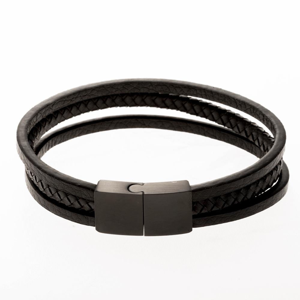 Lederarmband/schwarz mit Edelstahlverschluß/schwarz 21 cm