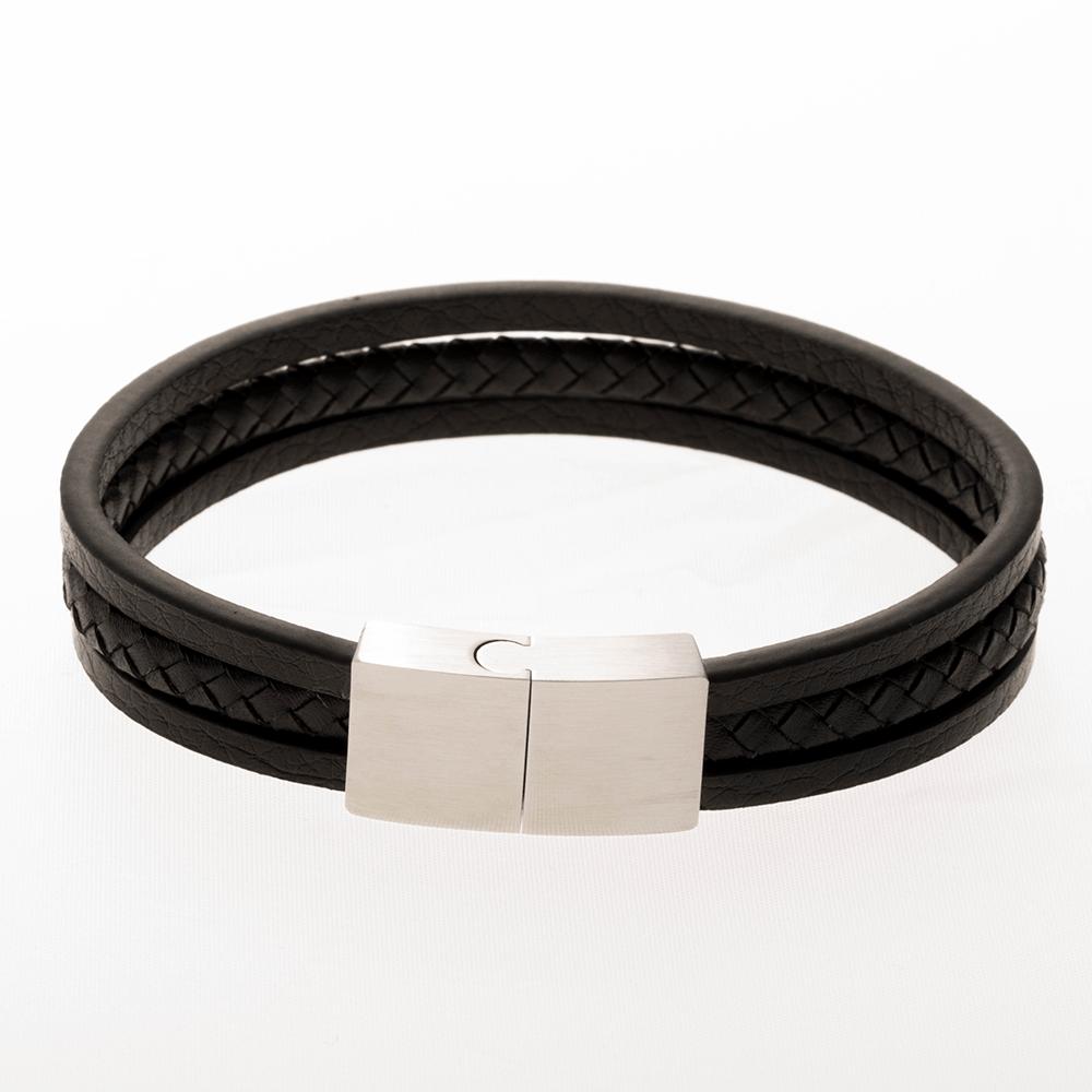 Lederarmband/schwarz mit Edelstahlverschluß/stahlfarben 21 cm