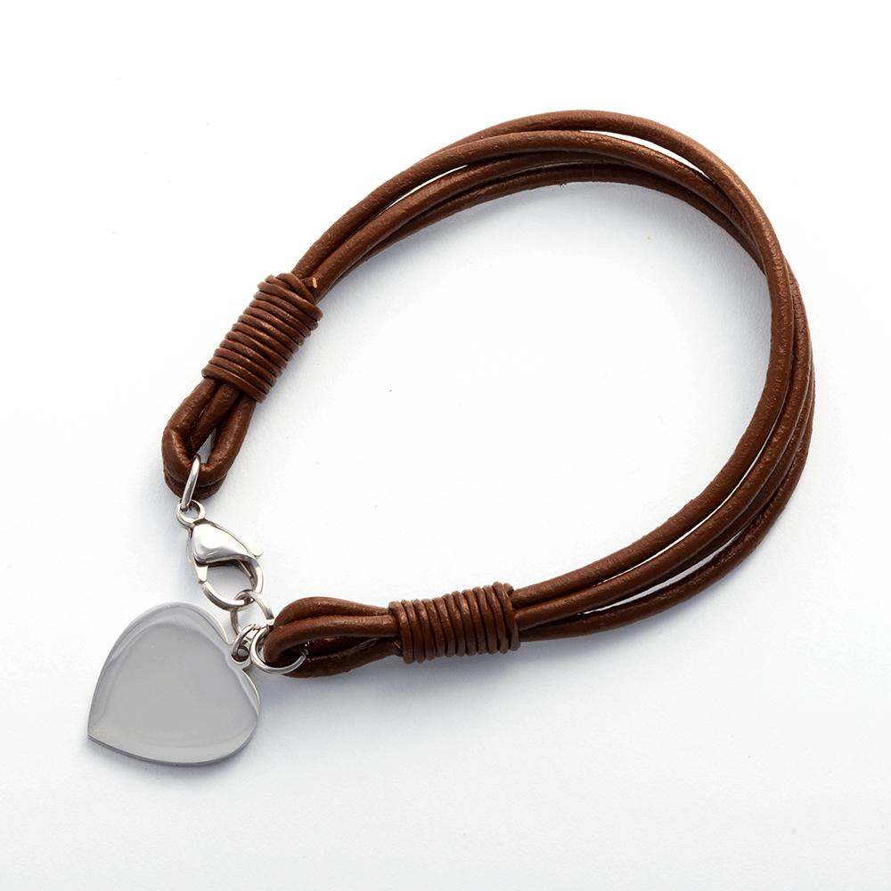 Lederarmband mit Edelstahlverschluß und Gravur-Herz stahl, 19 cm, dunkelbraun