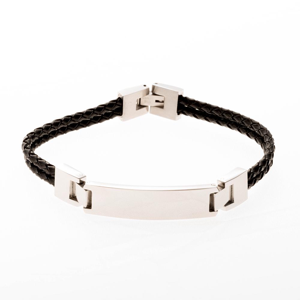 Lederarmband zweireihig mit Edelstahl Gravurplatte, schwarz, 19 cm