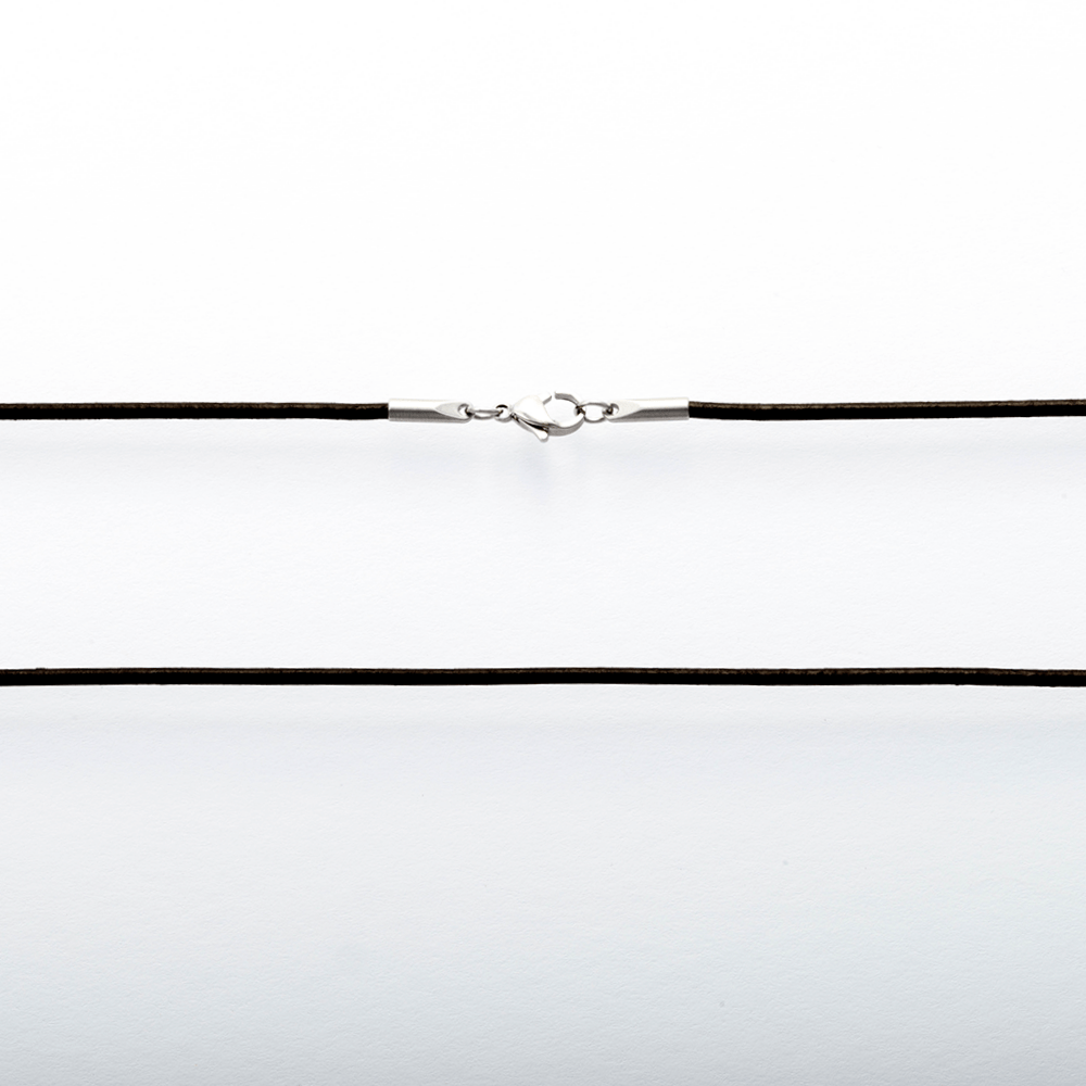 Leder Halsband, schwarz, 80 cm lang, 2 mm dick