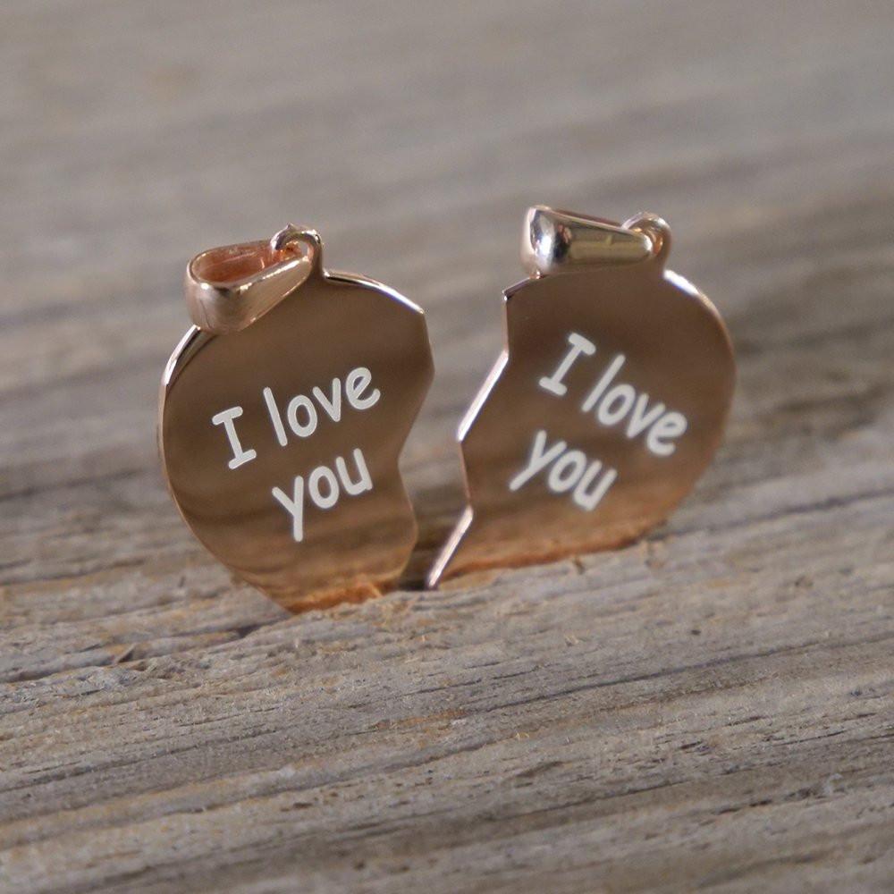 Silber-Anhänger graviert mit Ihrem Text - Doppeltes Herz, rosévergoldet