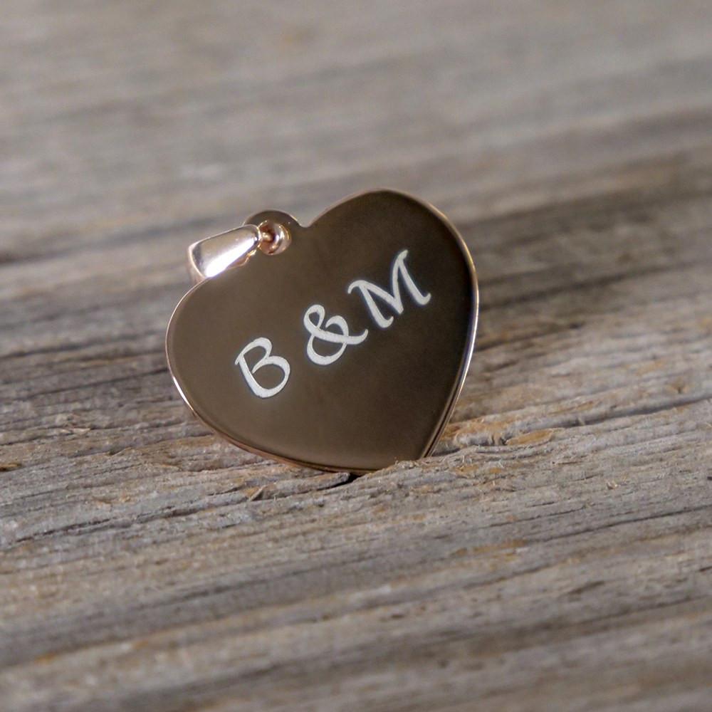 Silber-Anhänger mit Wunschgravur - Herz, rosévergoldet