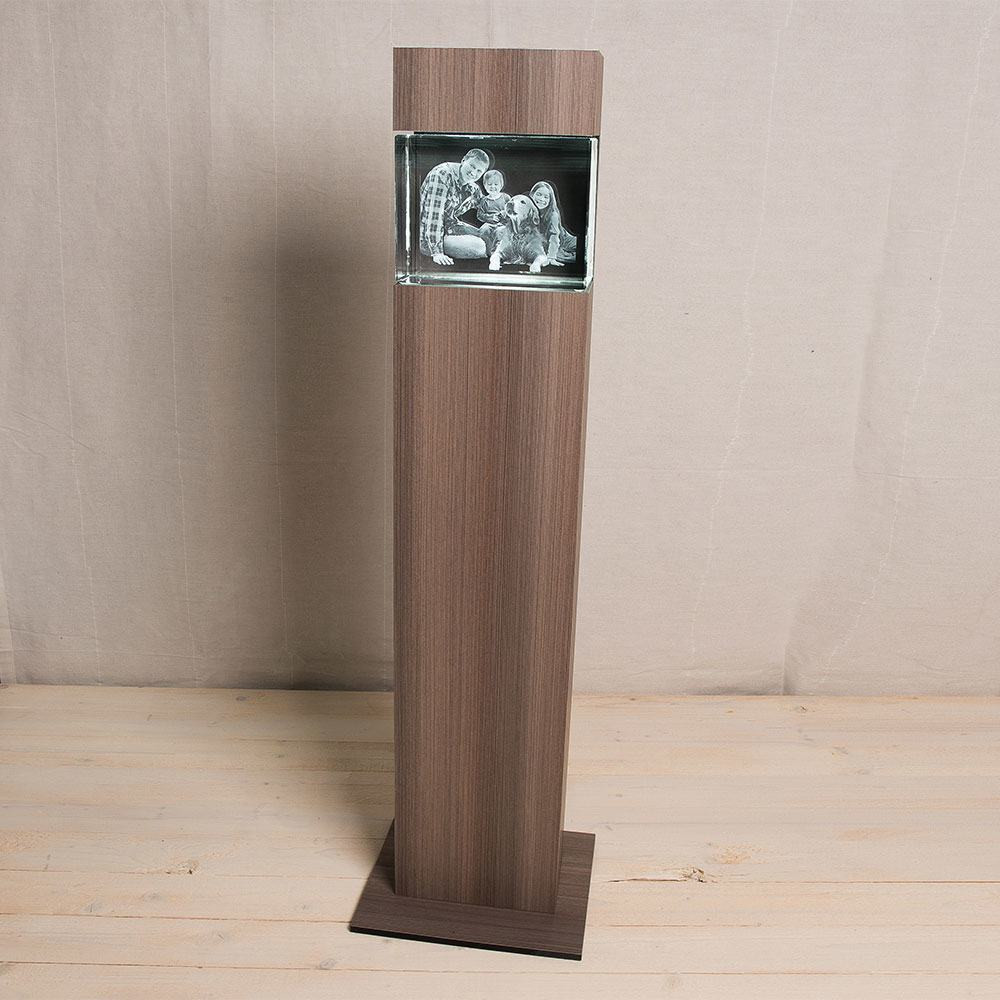 Leuchtstele Big Block Querformat - Dekor Ceramic Wood