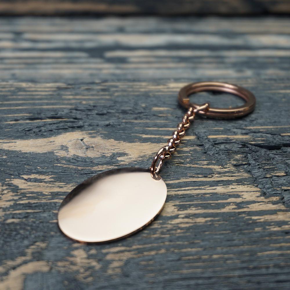 Schlüsselanhänger Edelstahl Oval L, roségoldfarben