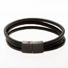 Lederarmband/schwarz mit Edelstahlverschluß/schwarz 18 cm