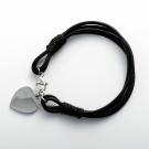 Lederarmband mit Edelstahlverschluß und Gravur-Herz stahl, 19 cm, schwarz