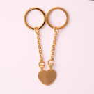 Schlüsselanhänger Edelstahl Herz geteilt L, goldfarben