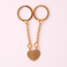 Schlüsselanhänger Edelstahl Herz geteilt M, goldfarben