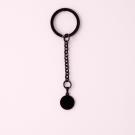 Schlüsselanhänger Edelstahl Rund S, schwarz