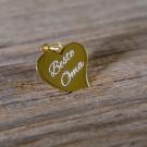 Silber-Anhänger mit individueller Lasergravur - Geschwungenes Herz, vergoldet