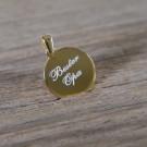 Silber-Anhänger personalisiert mit Wunschgravur - Rund, vergoldet