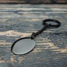 Schlüsselanhänger Edelstahl Oval L, schwarz