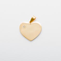 Edelstahl-Anhänger mit persönlicher Gravur - Herz mit Swarovski-Stein L, goldfarben