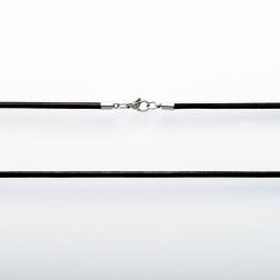 Leder Halsband, schwarz, 80 cm lang, 3 mm dick