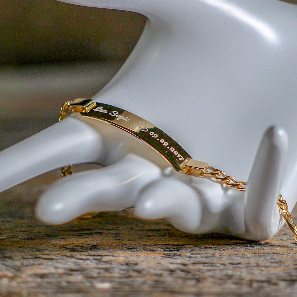 Armband mit Gravur gold aus 925er Sterlingsilber
