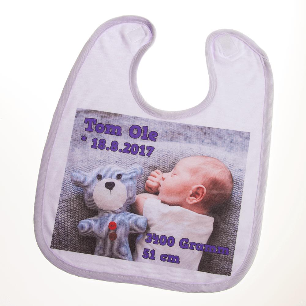Baby Lätzchen mit Foto und blauem Saum
