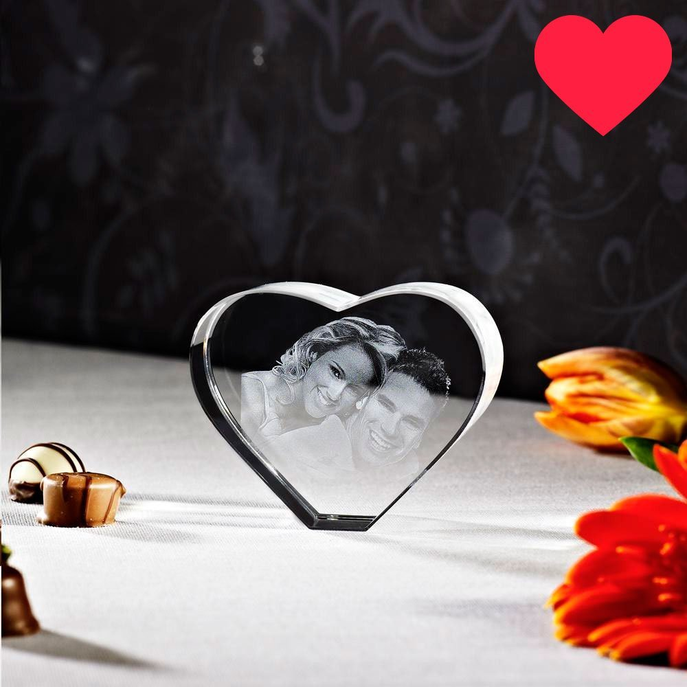 Laser Foto im Herz aus Viamant Glas