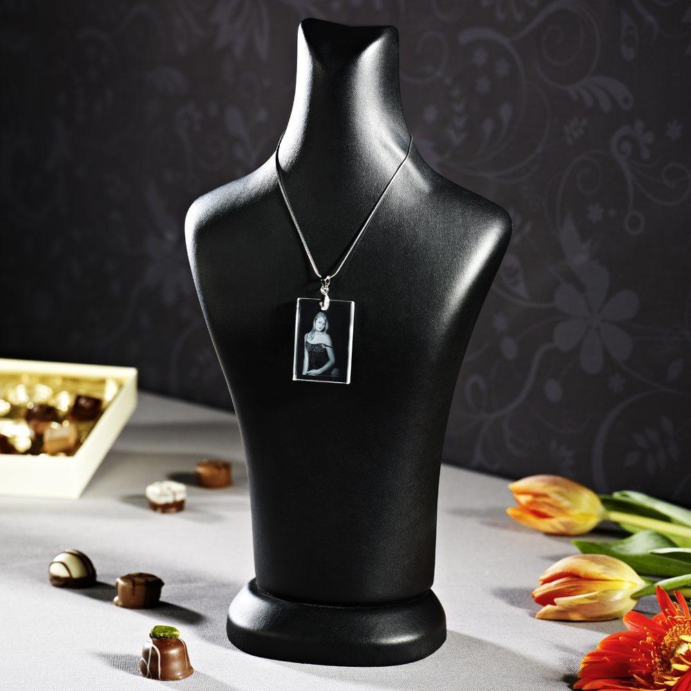 2D Laser Foto im Glas mit 925er Silber Halskette, Größe 25x35x4 mm