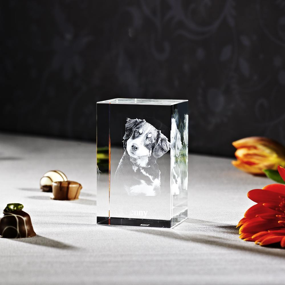 Individuellfotogeschenke - 3D Laser Foto im Glas Nano Viamant , Größe M (5x8x4,5cm) als Hochformat oder Querformat - Onlineshop Looxis