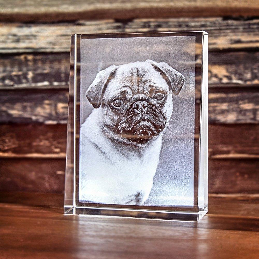 2D Laser Foto im Glas, Prisma Hochformat Größe L (100x135x35mm)