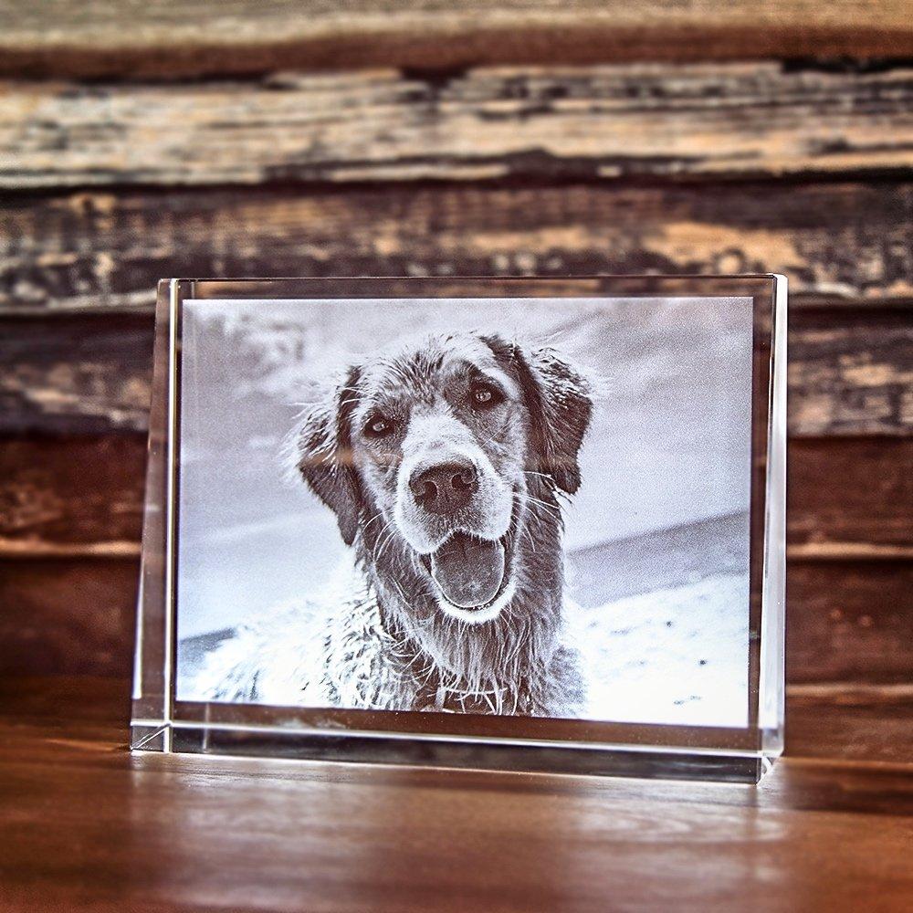 2D Laser Foto im Glas, Prisma Querformat Größe L (135x105x35mm)