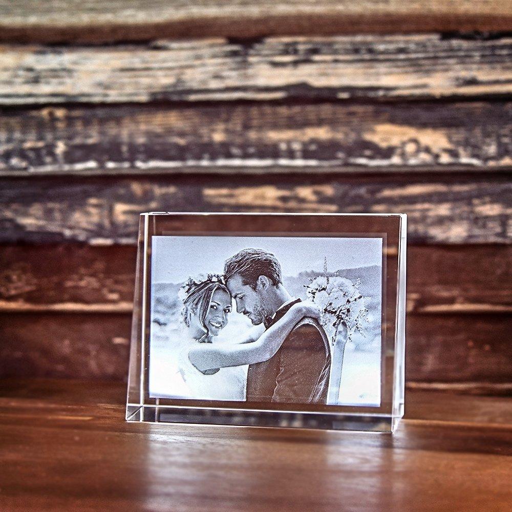 2D Laser Foto im Glas, Prisma Querformat Größe M (100x75x30mm)