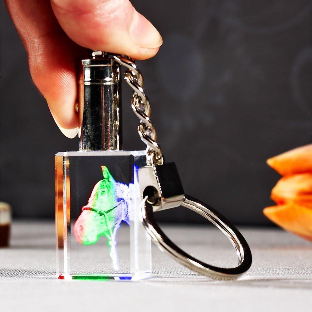 Laser Foto im Schlüsselanhänger mit farbwechselndem Licht
