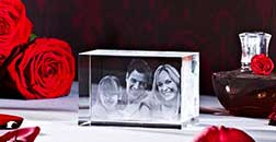 Glaswürfel mit Bild
