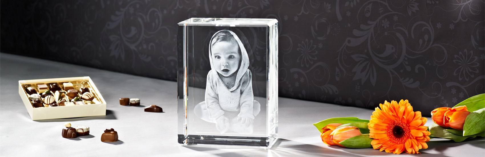 Ihr schönstes Babyfoto als 3D Kristallfoto